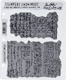 "Stampers Anonymous Tim Holtz Cling Rubber Stamp Set, 7"" by 8.5"", Ledger Script"