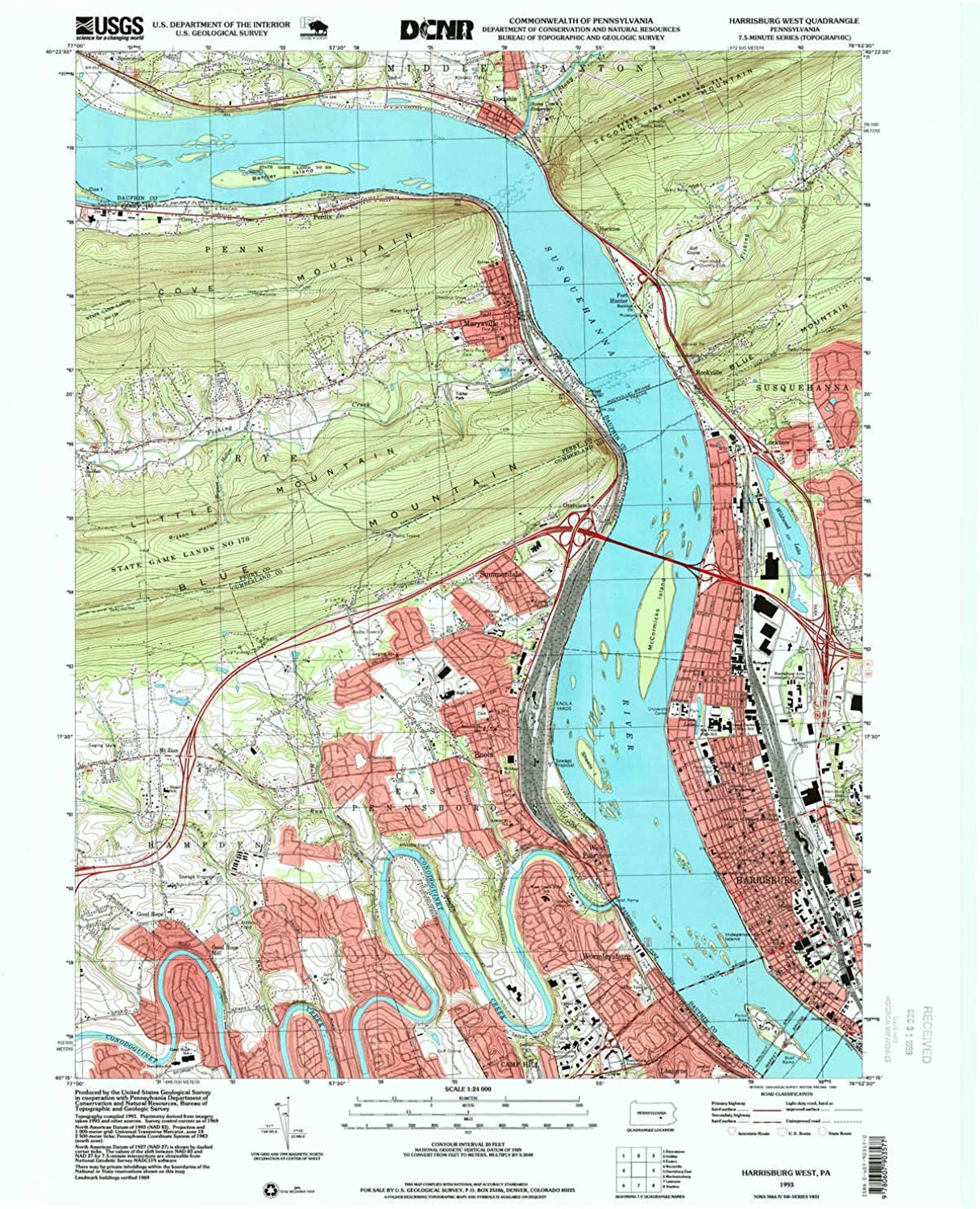 Harrisburg West PA topo map, 1 24000 Scale, 7.5 X 7.5 Minute, Historical, 1993, Updated 1999, 27 x 22 in