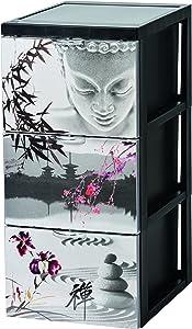 Iris Ohyama 127347SCF-303Torre de almacenaje de 3cajones Estilo cómoda, con Ruedas, de plástico Negro, 39x 29x 61,5cm