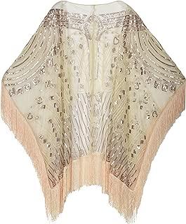 Women's Evening Wrap Beaded 1920s Shawl Fringed Oversized Cover Up