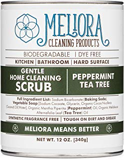 Meliora Cleaning Products Gentle Home Cleaning Scrub - Scouring Cleanser for Kitchen, Tube, and Tile, 12 oz. (Peppermint Tea Tree)