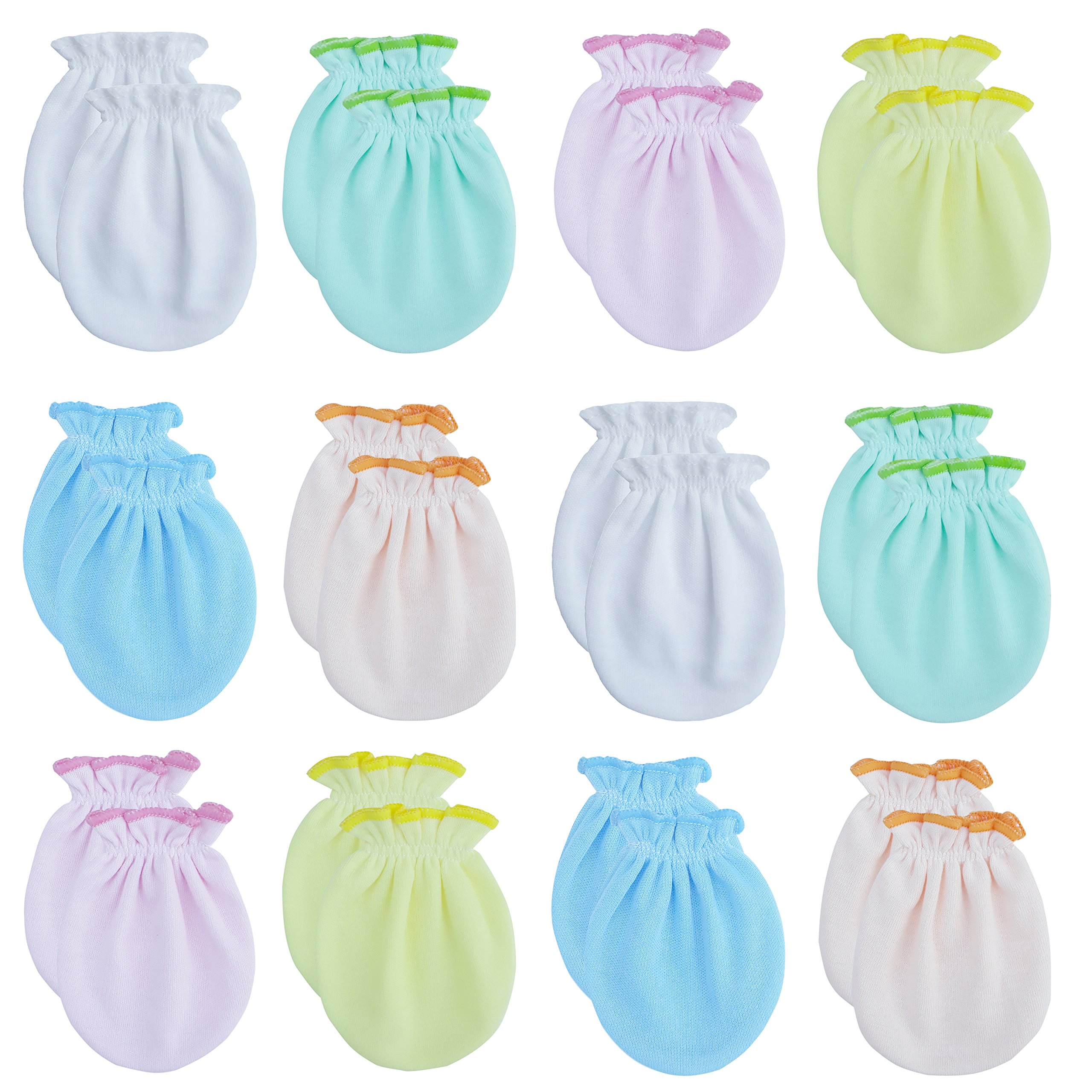 100/% Cotton Solid Colors Liwely 6 Pairs Unisex-Baby No Scratch Mittens