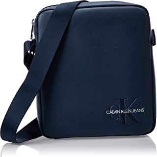 Calvin Klein Smooth Monogram Flat pack Messenger Bag, Washed Blue, 21 cm K50K504743