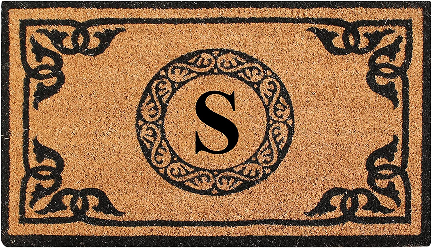 A1 HOME COLLECTIONS PT3006S First Impression Hand Crafted by Artisans Geneva Monogrammed Entry Doormat, 24 X39