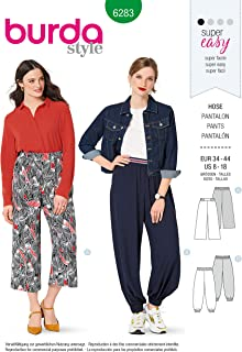 Burda Style Sewing Pattern 6283 - Misses' Pants, Pull-On, Harem or Cropped Wide-Leg, Size A (8-10-12-14-16-18)