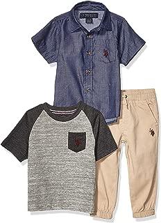 Boys' Short Sleeve Woven, Pocket T-Shirt, and Jogger Set