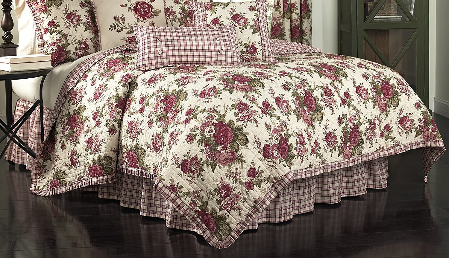 Waverly 14770BEDDF QTSN Norfolk 90-Inch by 88-Inch Reversible 4 Piece Full Queen Quilt Collection, Tea Stain