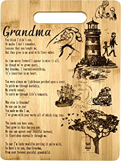 Grandma Gift – Bamboo Cutting Board Design Poem Grandma Gift Grandmas Day Gift Birthday Christmas Gift Engraved Side For Décor Hanging Reverse Side For Usage (8.75x11.5 Rectangle)