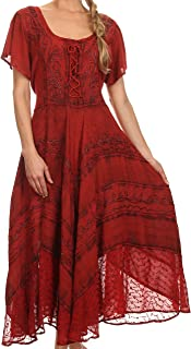 Mila Long Corset Embroidered Cap Sleeve Dress with Adjustable Waist