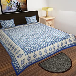 traditional mafia Mughal Collection 100% Pure Cotton Printed Double Bedsheet with 2 Pillow Covers, King, Blue