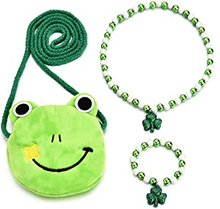 Little Girls Plush Cartoon Bag Necklace Earrings Hair Ties Hair Clips Jewelry Set