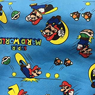 Super Mario Brothers Cape Power Up Blue Licensed Sheeting Fabric Cotton 4 Oz 44-45