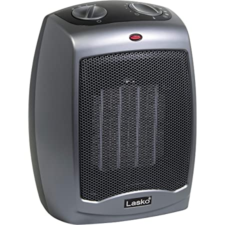 Lasko 754201 Small Portable 1500W Electric Ceramic Space Heater with Tip-Over Safety Switch, Overheat Protection, Thermostat and Extra Long 8-ft Cord for Indoor Ho, 9.2 x 7 x 6 inches, Dark Gray