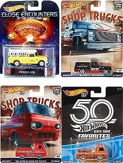 Hot Wheels Shop Pickup Trucks Volkswagen Ford F-250 Close Encounters Retro 83 Chevy Silverado 60's Econoline Car Culture Collectible Bundle