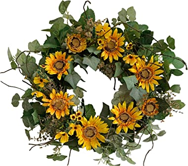 Huashen Yellow Sunflower Wreath with Green Leaves, Summer Blossom Floral Wreath on Grapevine Base for Wall Window Farmhouse Decor 24 inch