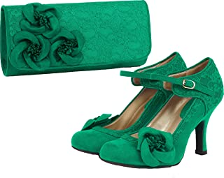 7377a258 Ruby Shoo Women's Emerald Green Anna Lace Mary Jane Pumps & Milan Bag