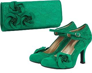 f726936b Ruby Shoo Women's Emerald Green Anna Lace Mary Jane Pumps & Milan Bag