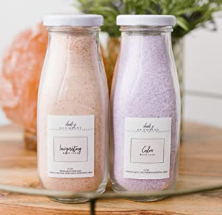 Invigorating & Calming Bath Salt Set. Enjoy Sweet Orange Himalayan Pink Soaking Salt & Lavender Epsom Salt. in Glass Bottl...