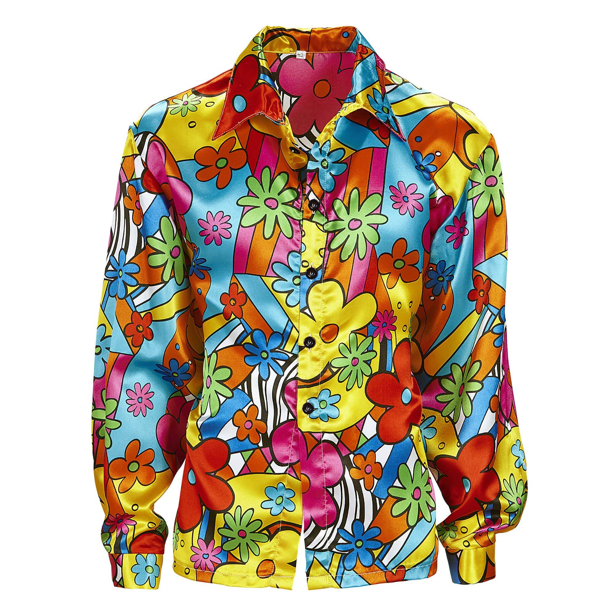 WIDMANN 7399 M adultos Disfraz Flower Power Camisa para hombre, multicolor, XXL: Amazon.es: Juguetes y juegos