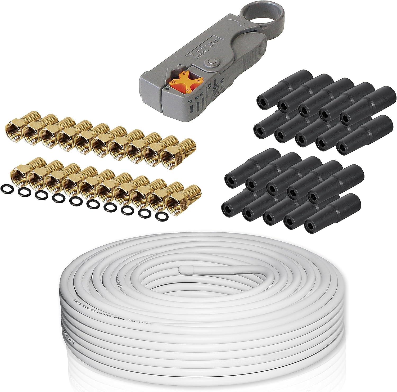 Smartsat - Kit de conexión satélite apto para HDTV y 3D (50 m, 120 dB, cable satélite, 25 conectores F, 20 fundas protectoras, 25 conectores F con ...