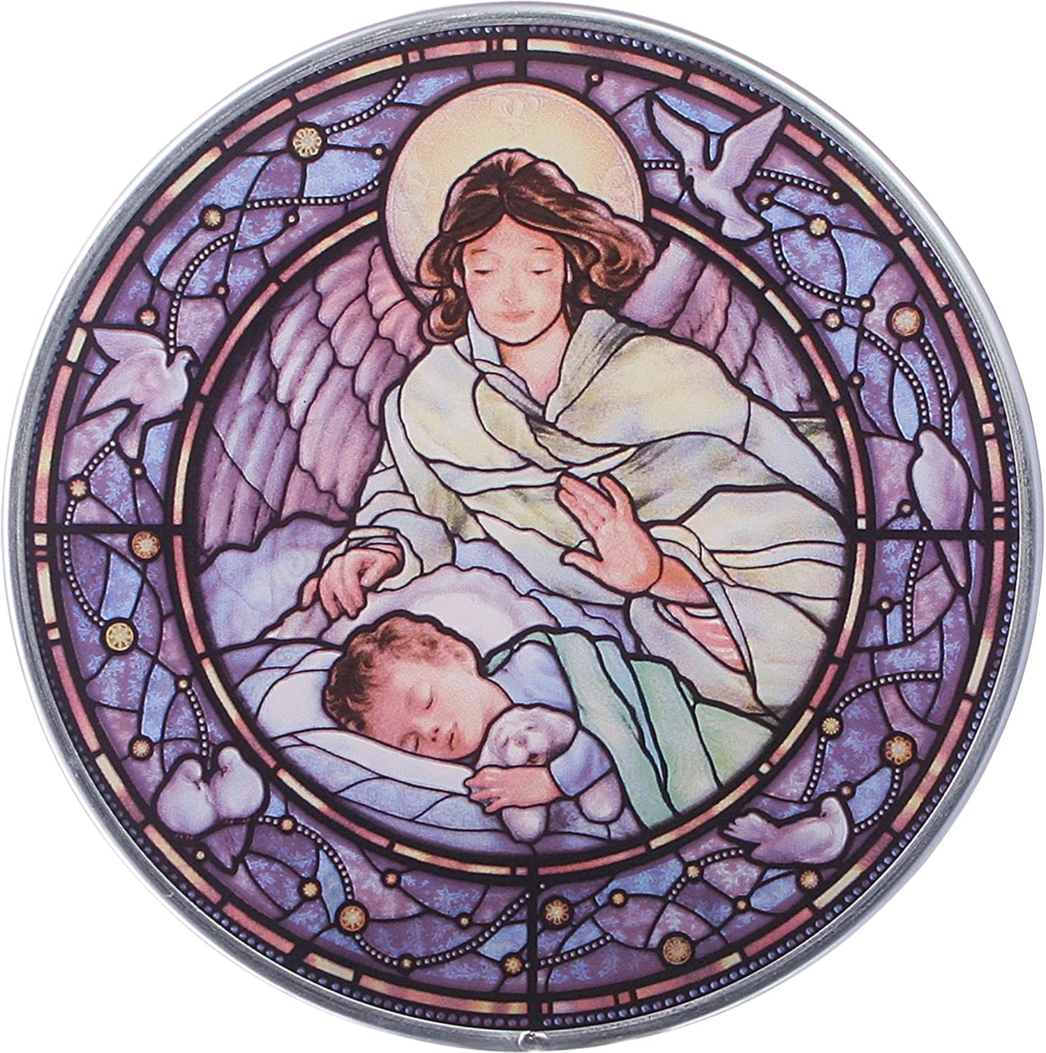 Design Toscano Stained Glass Panel - Little Boy Guardian Angel Stained Glass Window Hangings - Art Glass Window Treatments