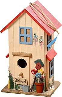 Cozy Cottage Bird House, Hand Crafted,Rustic Red Roof, Red Window Frames, 3D Welcome Sign, Potted Flowers and Watering Can Details, Twine Hanger, 10 1/4 Inches Tall