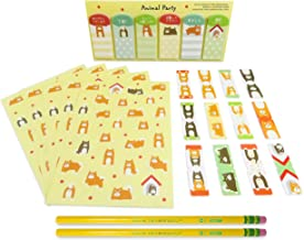 90 with Cat Page Markers Stickers Cat and Doll Japanese Mini Puzzle Erasers 7 and Colorful Striped #2 Sharpened Pencils 3 - Perfect 11 Piece Set for Kids Mixed