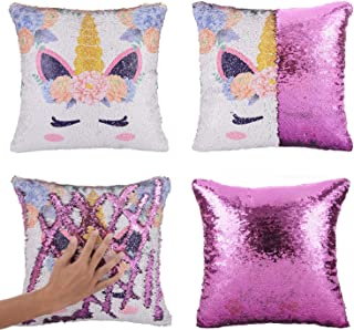 Merrycolor Mermaid Pillow Cover, Unicorn Gifts for Girls Sequin Pillow Cover Throw Cushion Case Decorative Pillowcase That Change Color (Unicorn E -Purple Sequin)