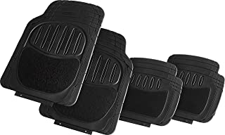 Suzec 130230 Car Foot/Floor Rubber Universal Mat with Carpet Finish (Set of 5, Black)