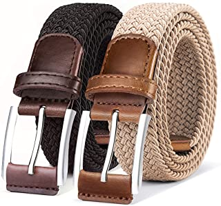 Belt for Men 2Units,Woven Stretch Braided Belt Gift-boxed Golf Casual Pants Jeans Belts,Width 1 3/8