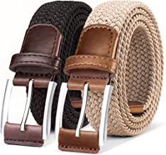 Belt for Men,Woven Stretch Braided Belt 2 Unit Gift-boxed Golf Casual Belts,Width 1 3/8""