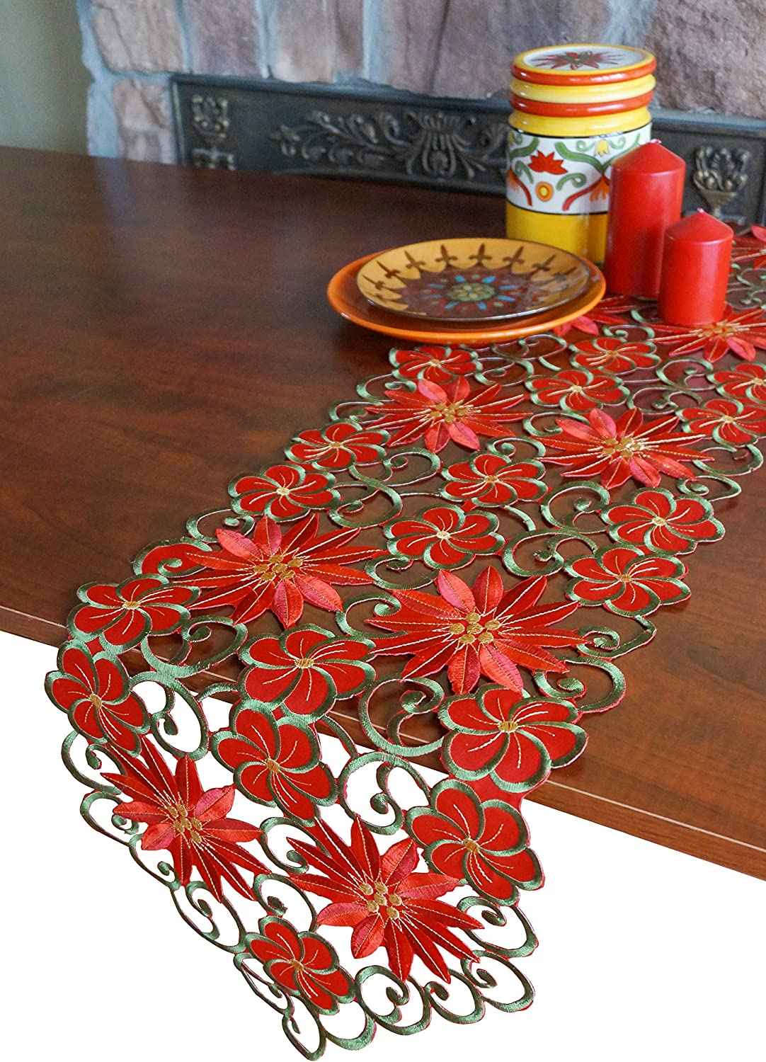 specialty shop GRANDDECO Holiday Christmas Table Runner Cutwork OFFicial store Embroidered Fl
