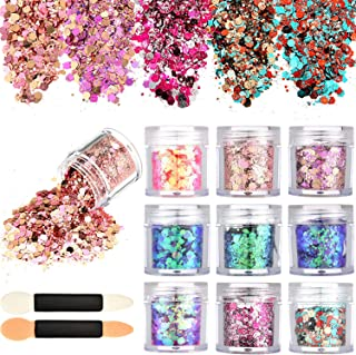 Tatuo 10 Boxes Nail Chunky Glitter Sequins Iridescent Flakes Cosmetic Paillette Ultra-thin Tips with 10 Pieces Eyeshadow Brushes for Face Body Hair Nails (Mixed Colors)