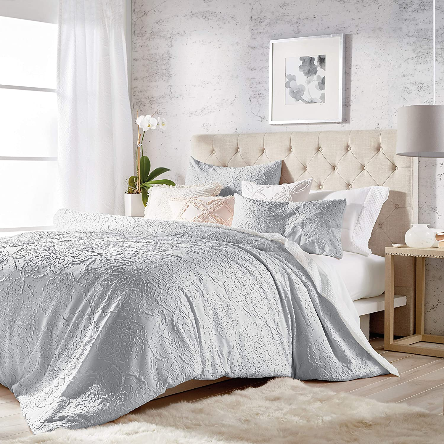 CHF Superior Limited time for free shipping Solid Medallion 3-Piece Microsculpt Shams Comforter Set with