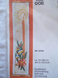 Christmas Candle Counted Cross Stitch Bellrope Kit