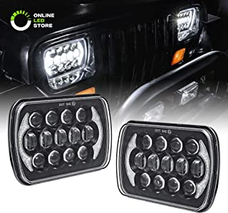2pc 5x7 7x6 LED Headlight Sealed Beam Assembly [CREE LED] [3,500 Lumens] [Black Housing + DRL] Head Lamp Replacement for Jeep Wrangler YJ & More