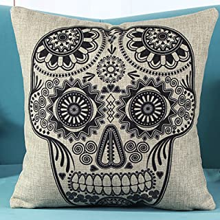 L&J.ART® 18'' Retro Vintage Mexican Day of the Dead Sugar Skull Mexican Day of the Dead Linen Throw Pillow Case Cushion Cover NK1