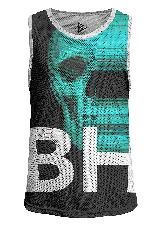 (ブロウハンマー)blowhammerーメンズ スリーブレスシャツ ー(スピード?スクル)Speed Skl-グランジ 運動着ウルバン 頭骨 暗い  抽象芸術 バスケ ジャージ プラクティスシャツ