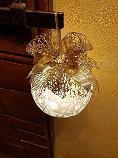 Pallina di Natale dia 10 cm con pizzo, Idea Decorativa per Natale
