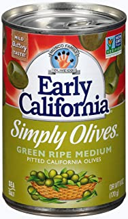 Early California 6 oz. Simply Olives Green Ripe Pitted, 12-Cans