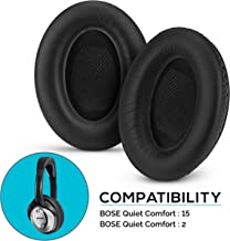 Upgraded Earpads for Bose QC15 & QC2 Replacement Ear Pads, Faux Leather & Real Memory Foam, Long Lasting, Also Fits QuietComfort 15, 2, Ae2, Ae2i, Ae2w, SoundTrue & SoundLink, Black by Brainwavz