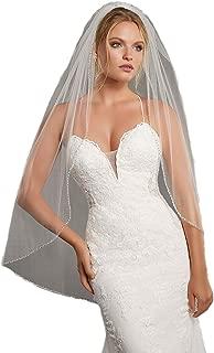 Passat Angel Shaped Wedding Veils Edged with Crystals Blush Bugle Beads Bridal Veil VL-1009
