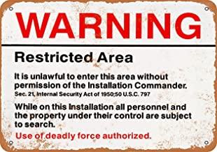Wall-Color 7 x 10 Metal Sign - Warning Restricted Military Area 51 - Vintage Look