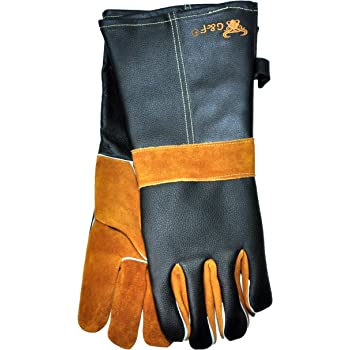 "14.5"" Long Premium Leather Gloves, BBQ gloves, Grill and Fireplace Gloves, Cotton lining with Kevlar stitch, Heat Resistant Gloves, animal handling gloves, bite-proof gloves"