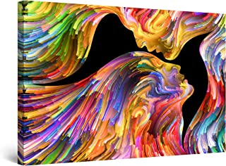 STARTONIGHT Canvas Wall Art Abstract - Kissing in Eternity, Multicolored Painting - Large Artwork Print for Living Room 32