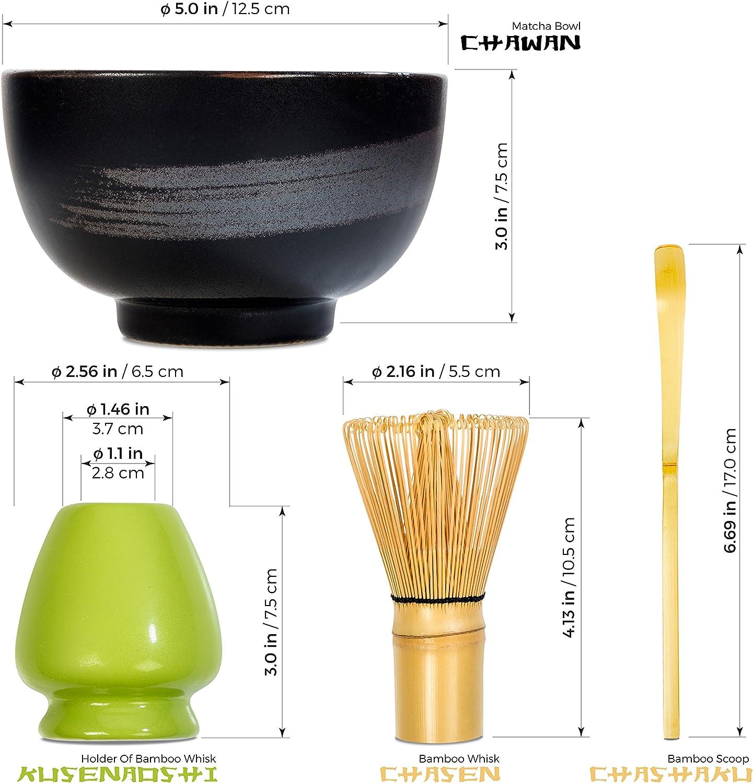 Tealyra - Matcha - Start Up Kit - 4 items - Matcha Green Tea Gift Set - Japanese Made Green Bowl - Bamboo Whisk and Scoop - Whisk Holder - Gift Box Black