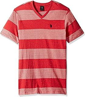 Men's Short Sleeve V-Neck Striped T-Shirt