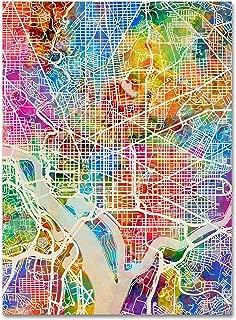 Washington DC Street Map by Michael Tompsett, 18x24-Inch Canvas Wall Art