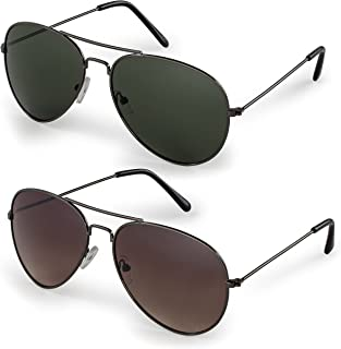 Classic Aviator Sunglasses with Protective Bag, 100% UV Protection
