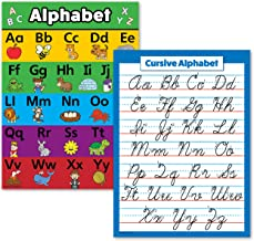 "2 Pack - ABC Alphabet & Cursive Writing Poster Set (Laminated, 18"" x 24"")"